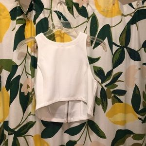 White crop top with zipper detail in the back